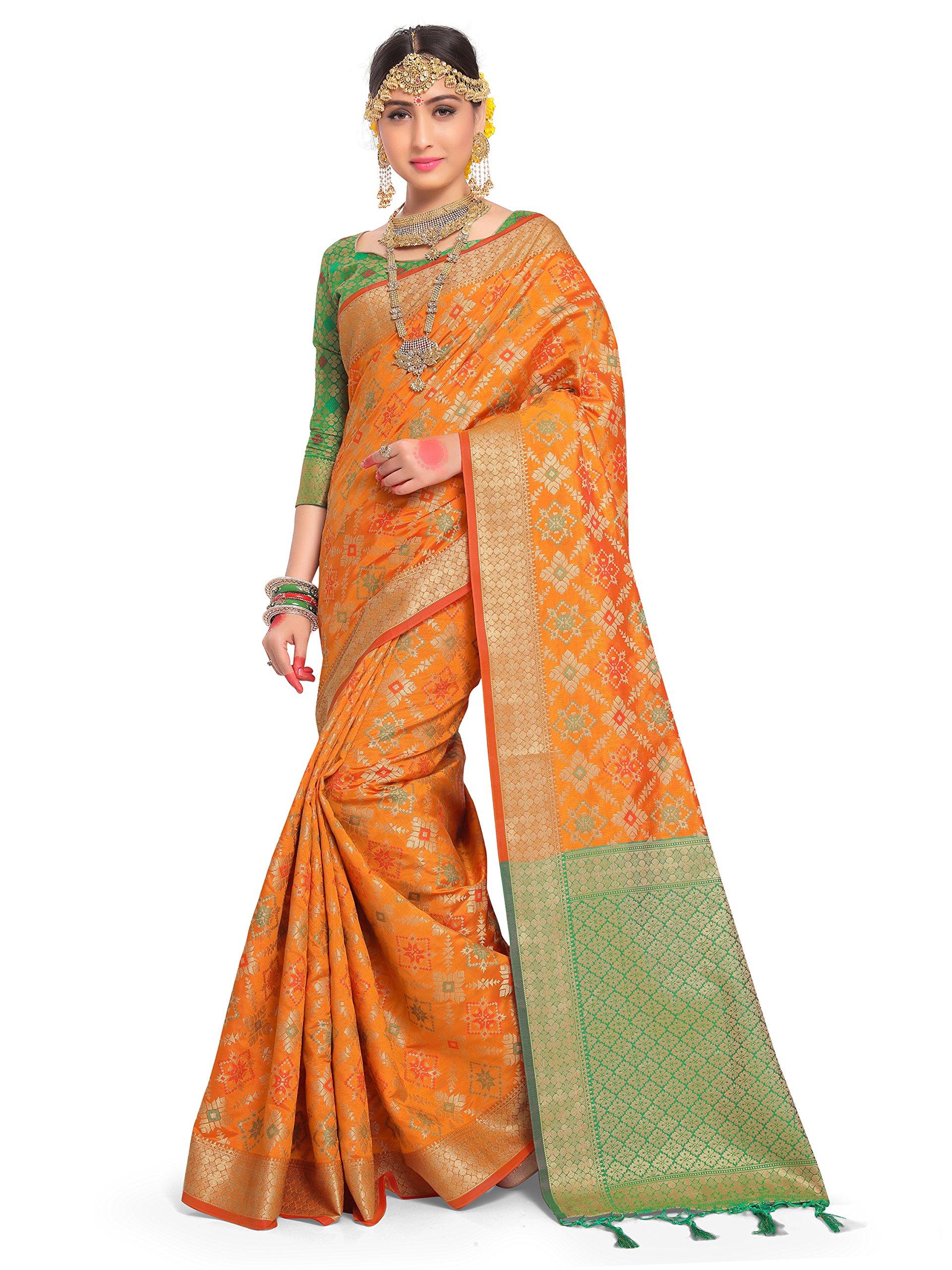 ELINA FASHION Sarees Women Patola Art Silk Woven Work Saree l Indian Wedding Ethnic Sari Blouse Piece (Orange)