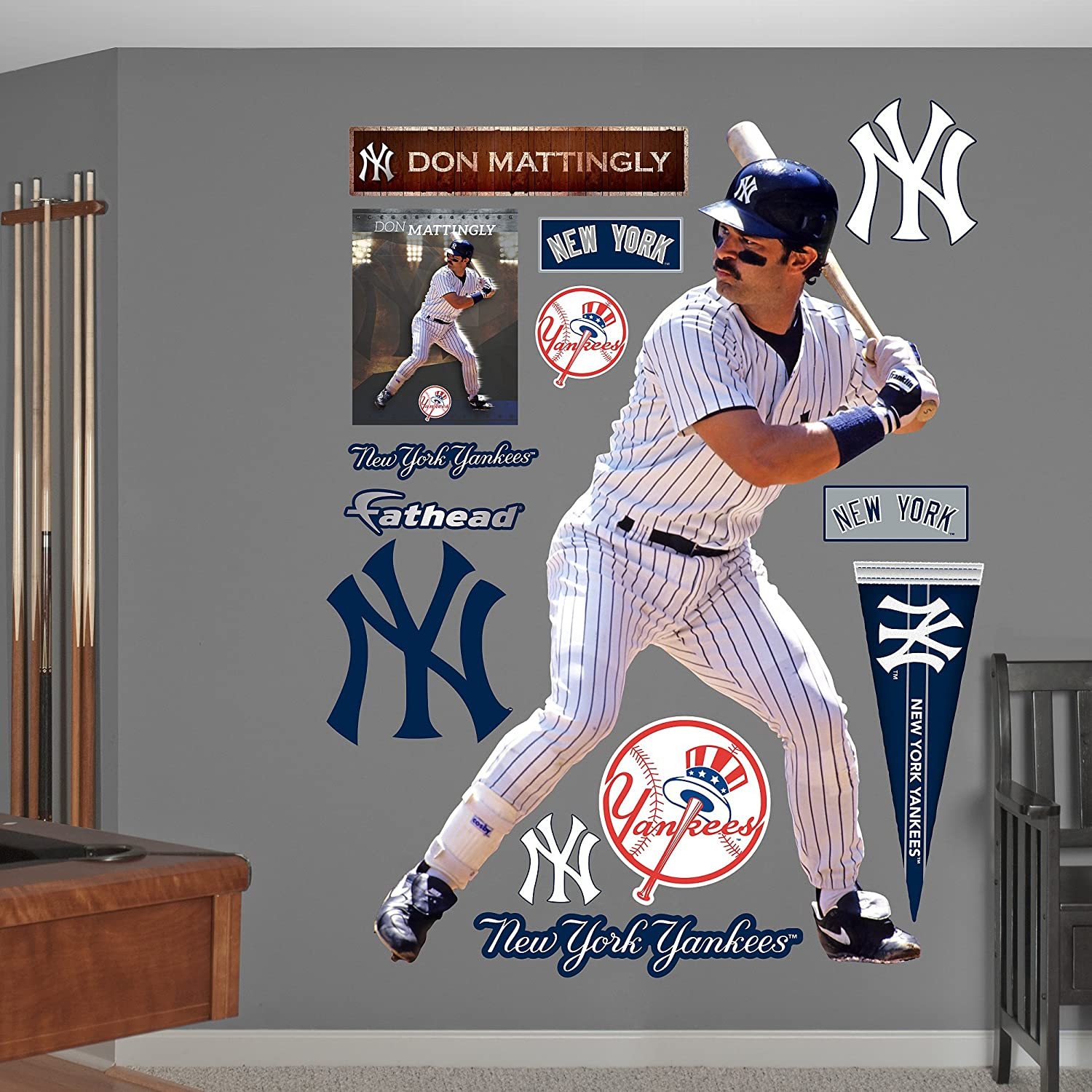 Amazon.com : MLB New York Yankees Don Mattingly Fathead Wall Decal, Real  Big : Sports U0026 Outdoors