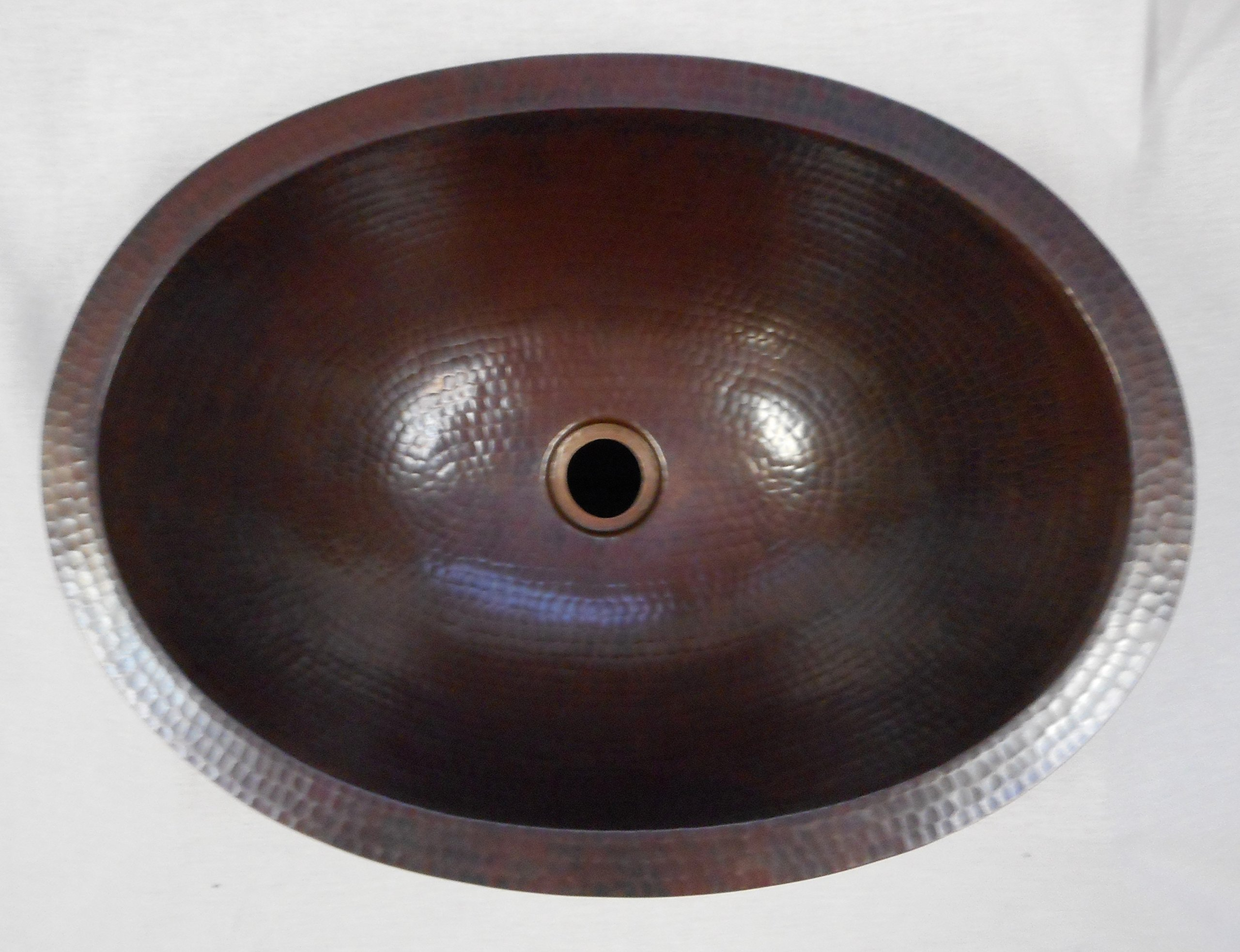 SimplyCopper 19'' Oval Copper Bathroom Sink -- Undermount or Drop in by SimplyCopper