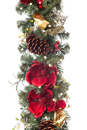magnificent magnolia red 9 ft pre lit decorated garland - 9ft Pre Lit Christmas Tree