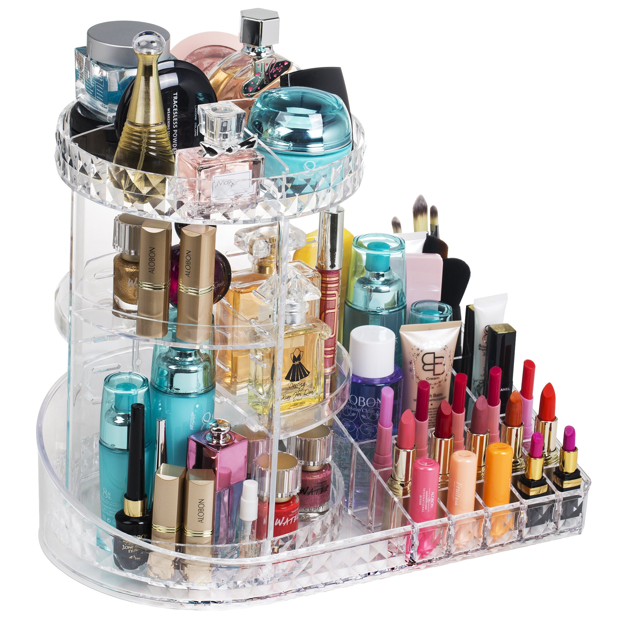 Readaeer 360 Degree Rotating Adjustable Makeup Organizer Cosmetics Lipsticks Perfumes Storage Tray Box (Clear)