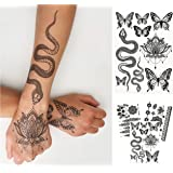 Temporary Tattoos for Adult Women - 3 Sheets - Black Big Snake Butterfly Lotus Mandala Medallion Sexy Small Butterflies Sleev