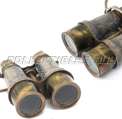 Antique Marine Victorian Binoculars Handmade Buffed Leather Cover Belt, 6 inches, Brass