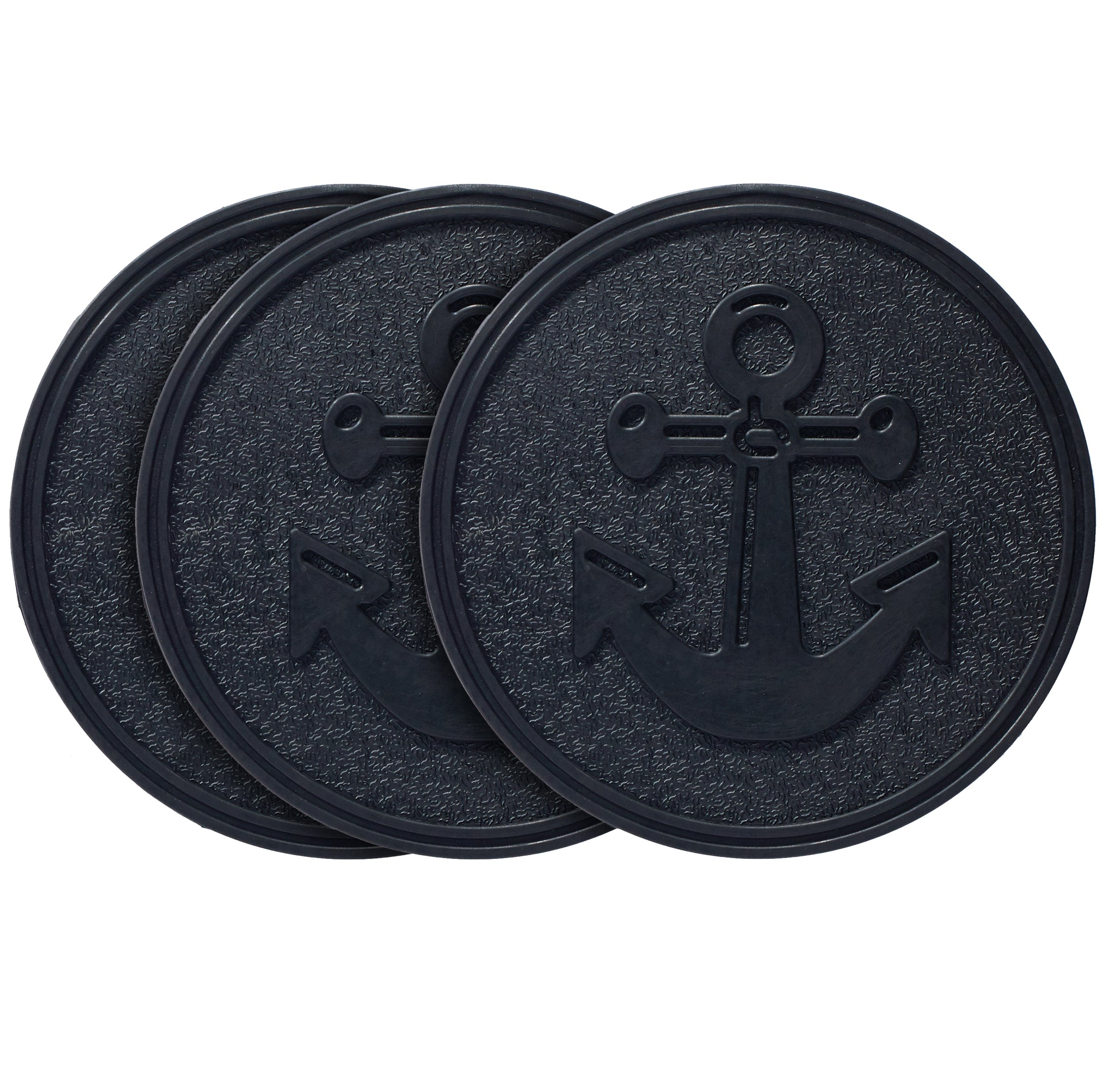 HF by LT Rubber Anchor Garden Stepping Stone, 11-3/4'', Set of 3, Black