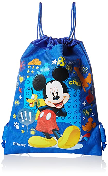 a3b42525be1 Amazon.com  Mickey Mouse and Friends Draw String Backpack Bag - Blue by  Disney  Sports   Outdoors