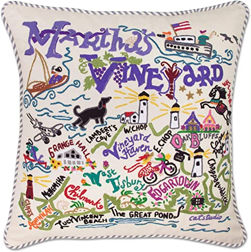 Catstudio Martha s Vineyard Embroidered Decorative Throw Pillow