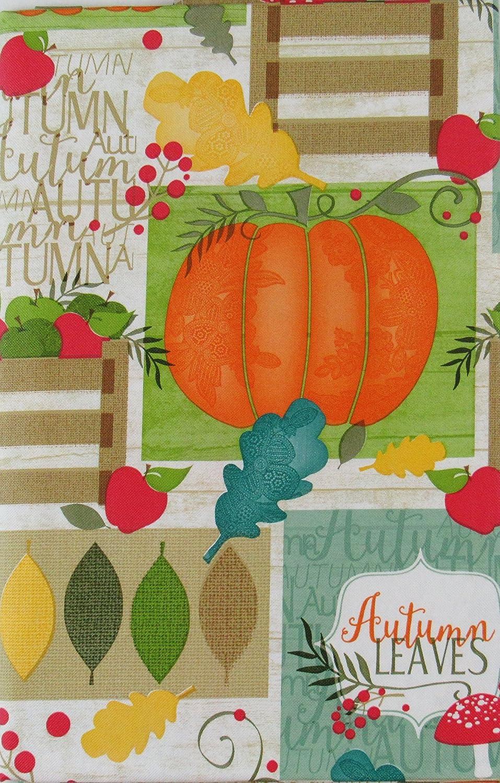 Colorful Fall Vinyl Tablecloth Autumn Plaid  Bountiful Harvest Elrene Asst Sz.