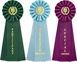 Clinch Star Victory Recognition Award Ribbons with Event Card (Honarble Mention, Special Award, Participant)
