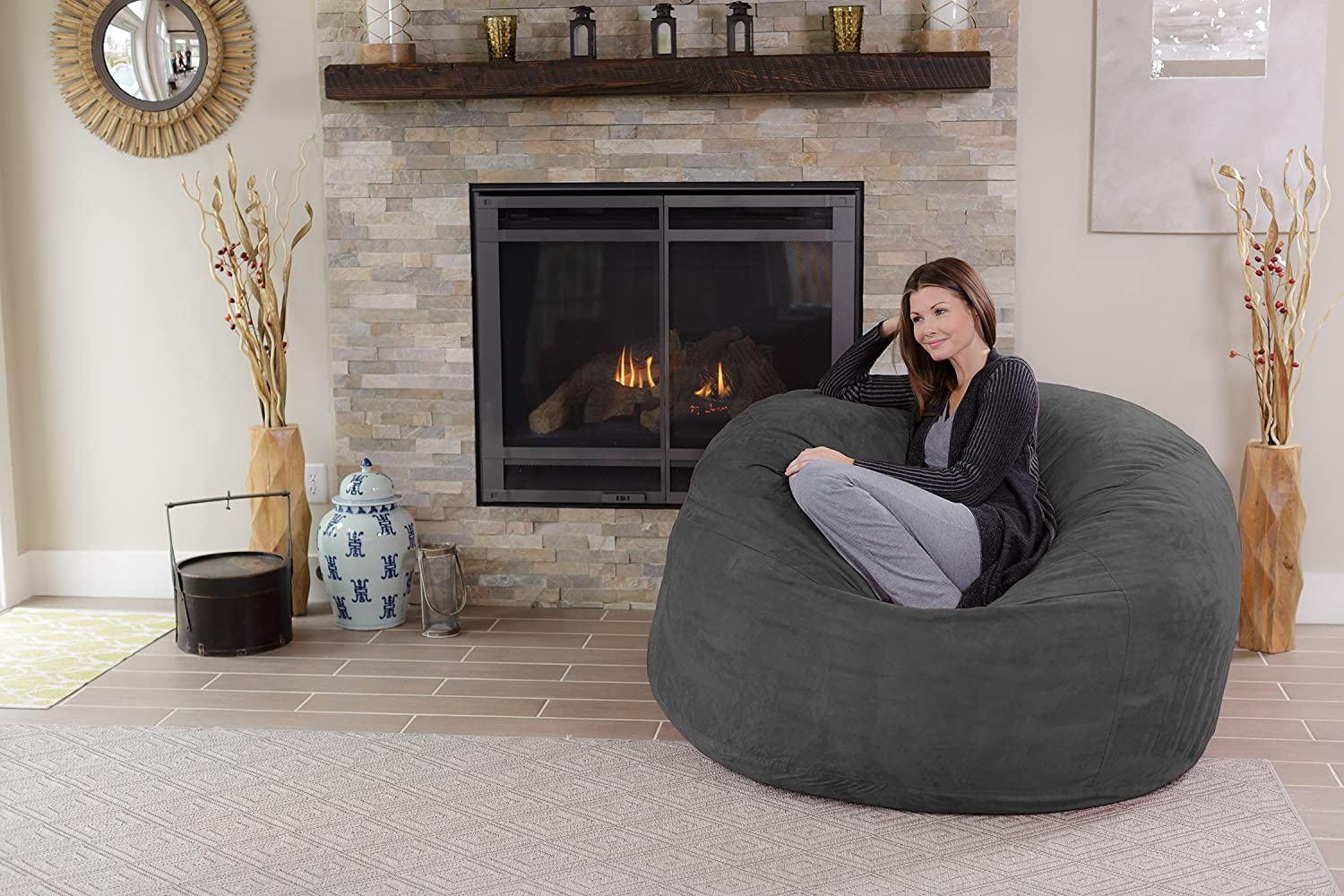 Chill Love Sack Adult Bean Bag Chair Giant 5 Memory Foam
