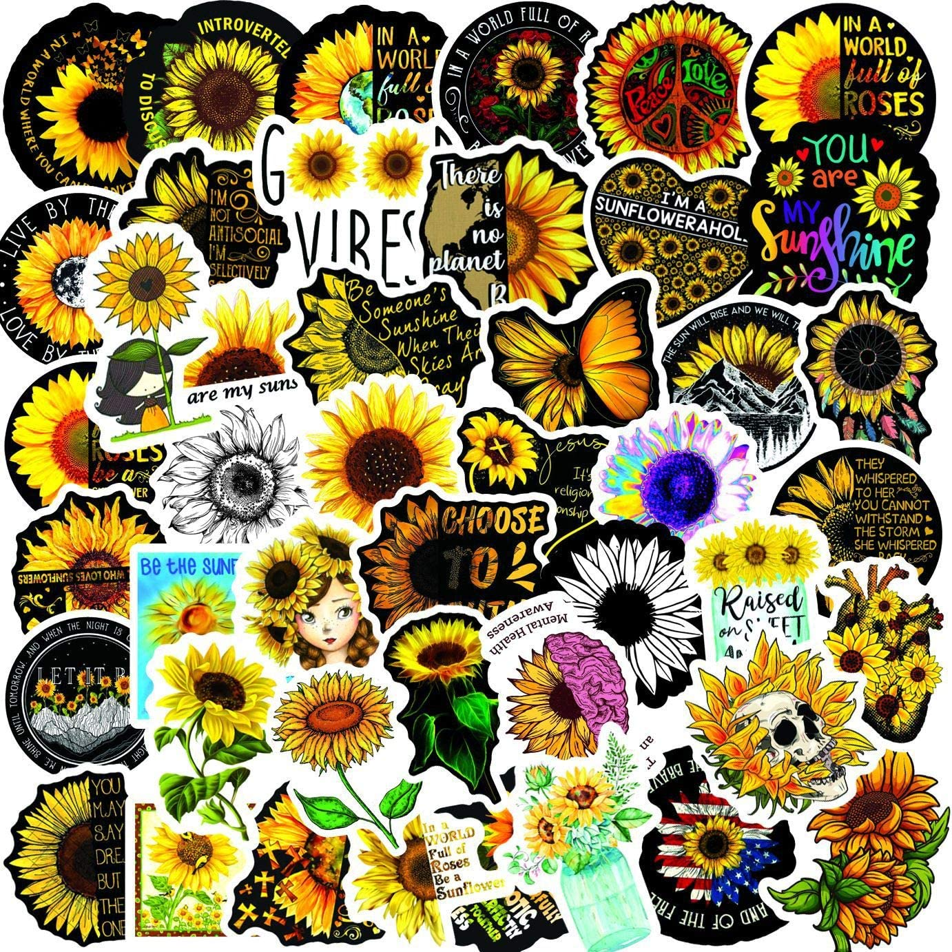 Sunflower Stickers Pack of 50 Yellow Sunshine Flowers Cute Sticker for Teens Adults Walls Laptops Skateboards Computers Phones Guitars Water Bottles