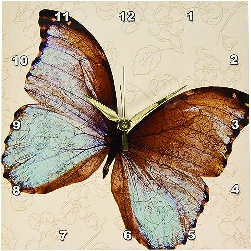 3dRose DPP_110237_1 Pretty Butterfly Floral Art-Wall Clock, 10 by 10-Inch