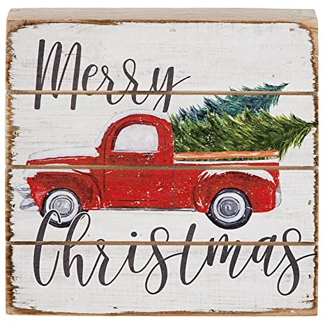 merry christmas vintage red farm pickup truck wood pallet sign 6 inch square stand or hang