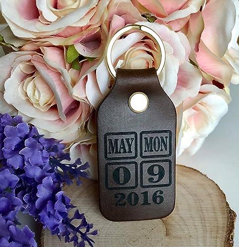 Wedding Anniversary Personalised Leather Brown Genuine Calendar Date keyring