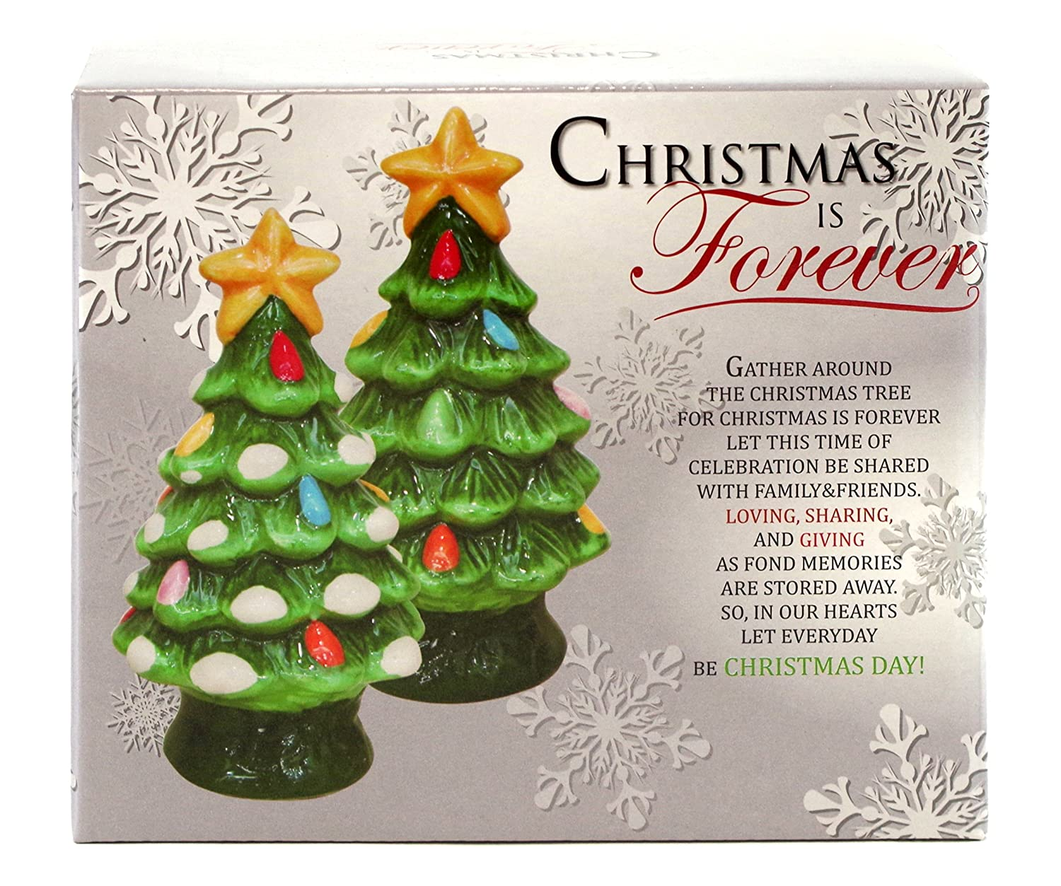 amazon com christmas is forever ceramic tree salt and pepper