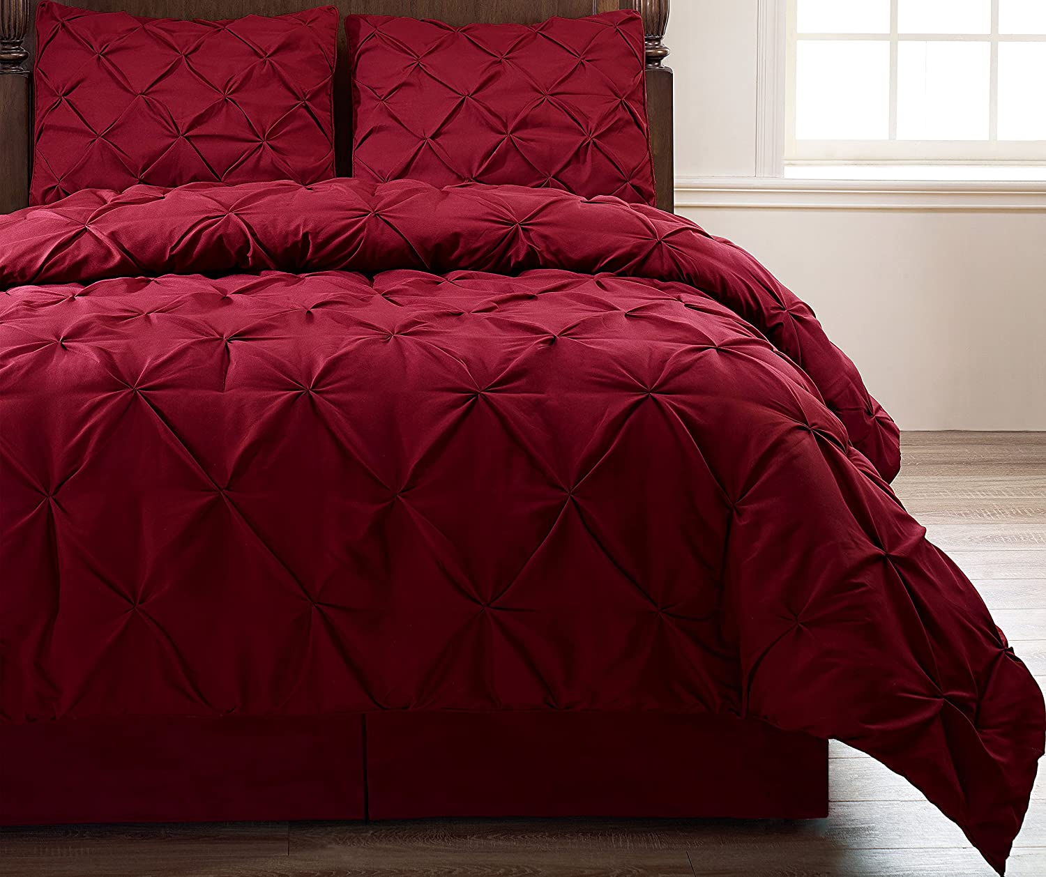 Pinch Pleat Burgundy Color King Size 4-Piece Comforter Set