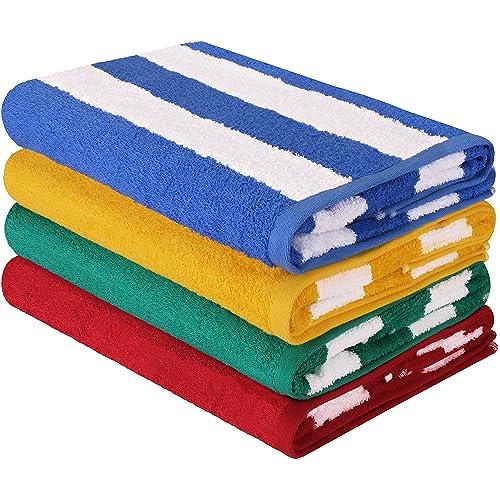 Utopia Towels Premium Quality Cabana Beach Towels - Pack of 4 Cabana Stripe Pool Towels (