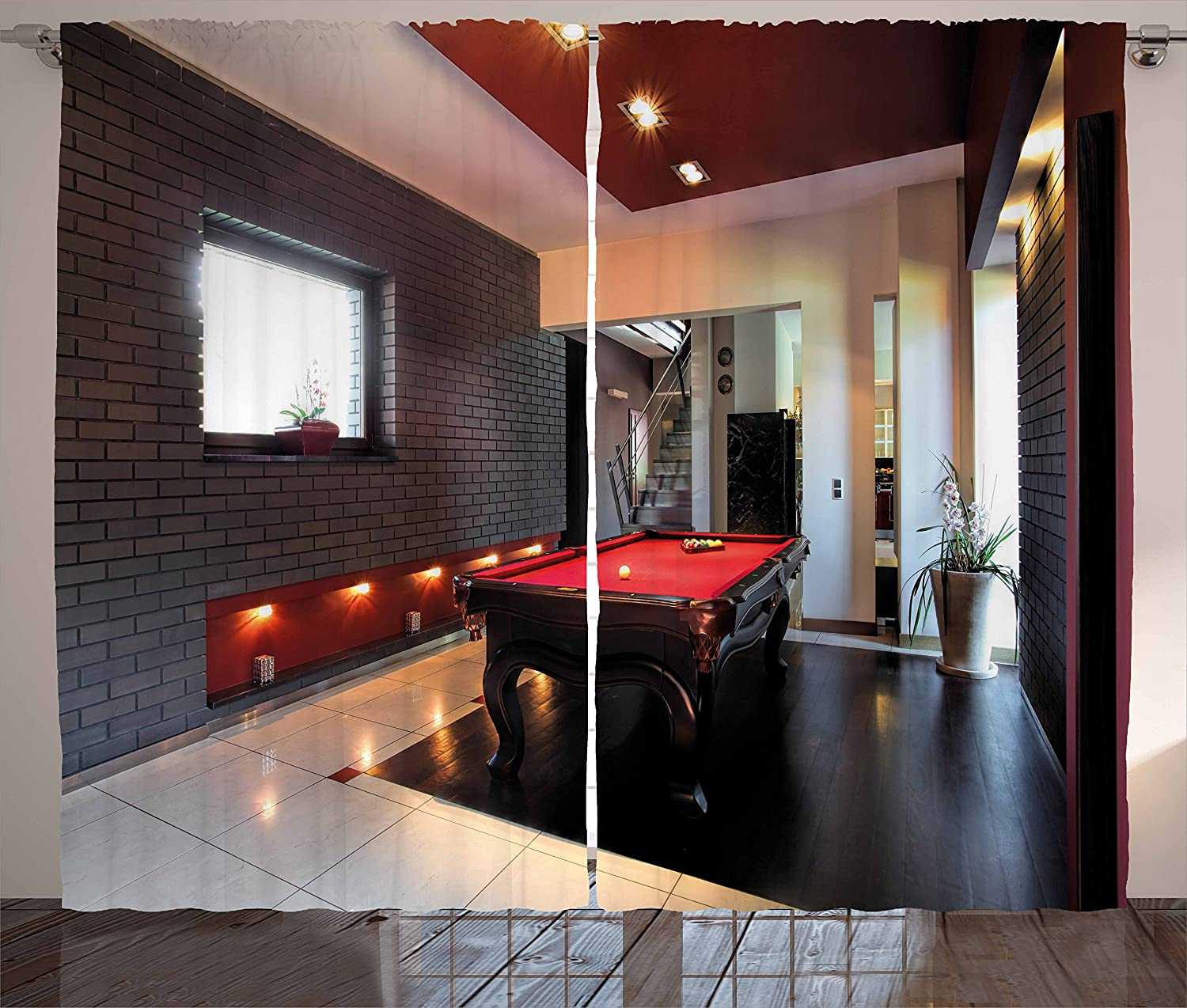 Ambesonne Modern Curtains, House with Snooker Table Hobby Pool Game Flat Furniture Leisure Time Print, Living Room Bedroom Window Drapes 2 Panel Set, 108
