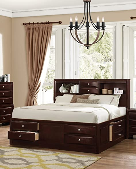 Amazon.com: Roundhill Furniture Ankara Wood Storage Bed, Queen ...