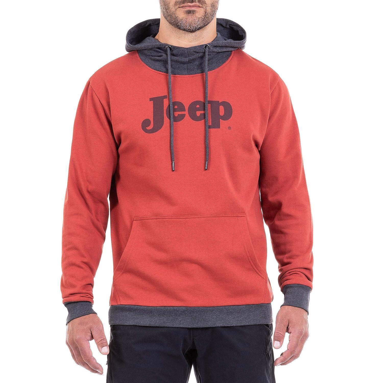 Jeep Hoodie Logo Vintage, Felpa Invernale Uomo, Rosso e Grigio, XL Trere Innovation O101152-R396-XL