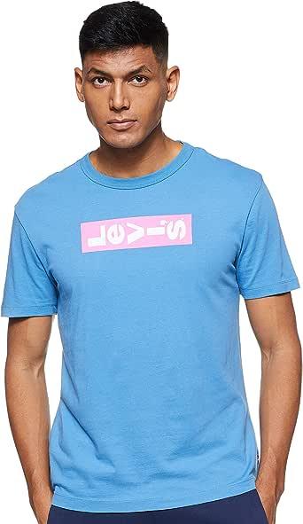 Levi's 52655-0033 Men's Regular Fit Plain Crew Neck T-Shirt, Blue, Medium