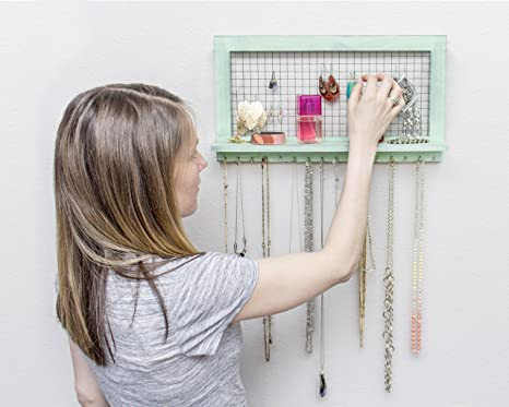 Amazon.com: Chic Green Jewelry Organizer Wall Mounted from SoCal ...