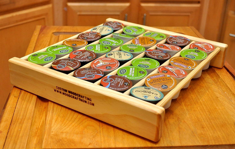 Custom Woodcrafting Coffee Pod Storage Organizer Insert for Drawer Holds 45 Pods