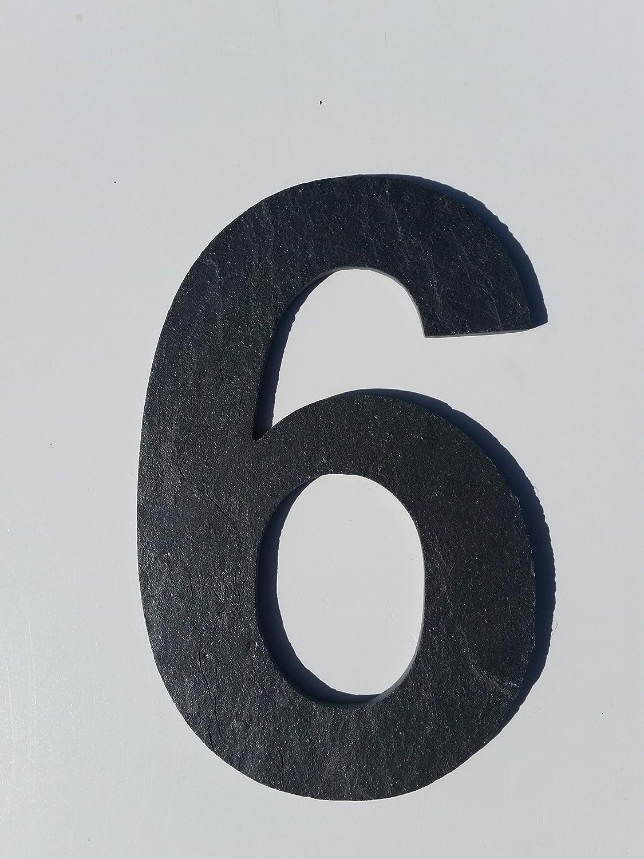 Zahlen aus Schiefer gearbeitet sechs 6 Hausnummer !!!15cm!!! mit glatter Kante