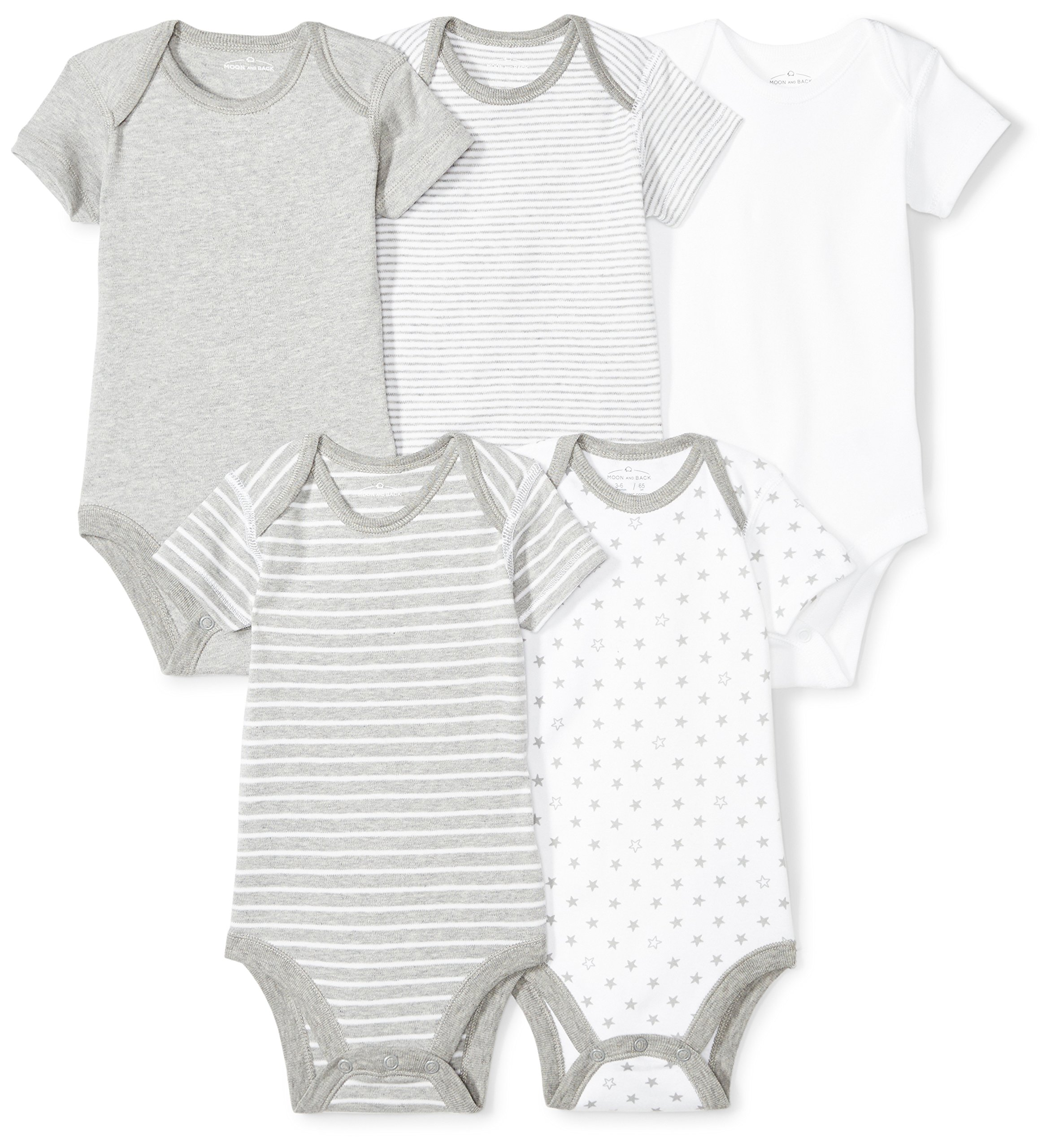 Moon and Back Baby Set of 5 Organic Short-Sleeve Bodysuits, Grey Heather, 3-6 Months