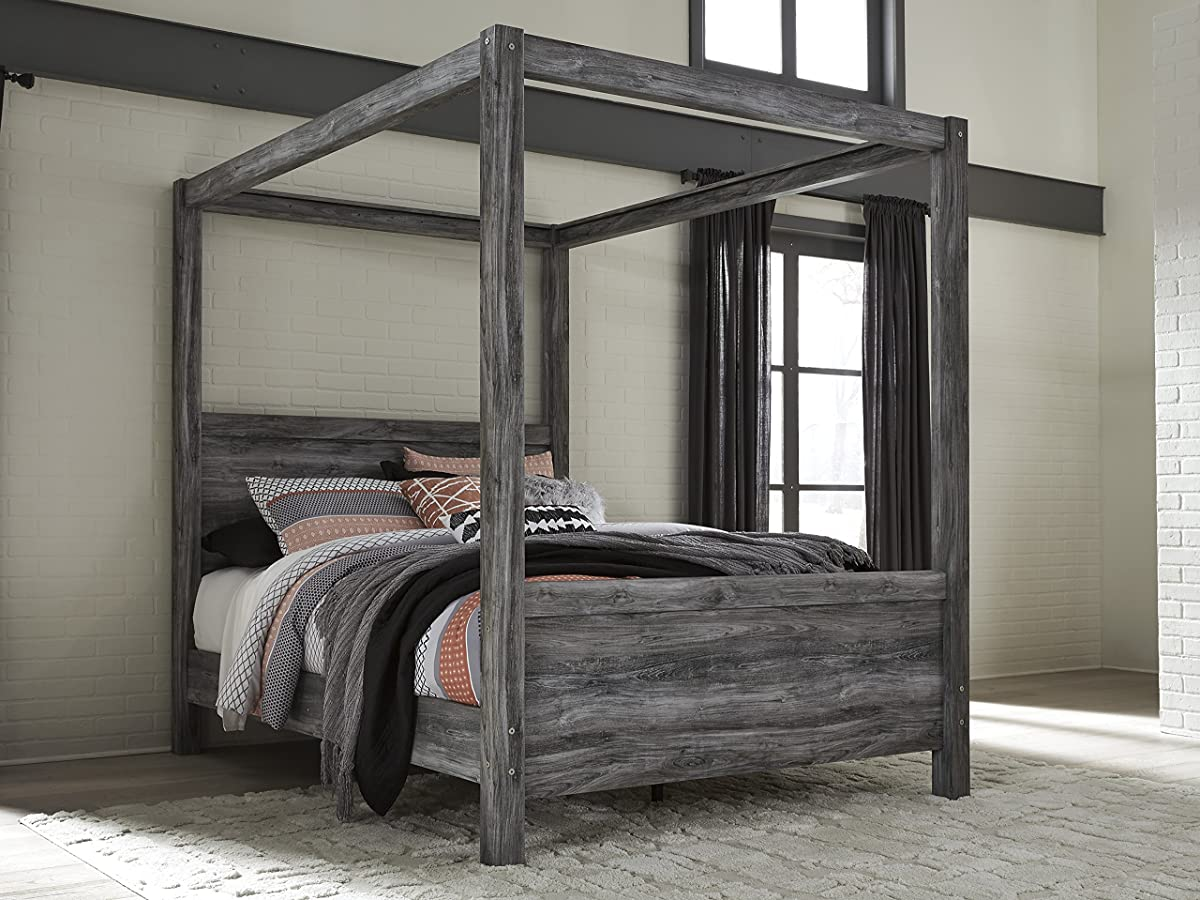 Bayside Casual Gray King Canopy Bed, Dresser, Mirror, Nightstand, Fireplace TV Chest
