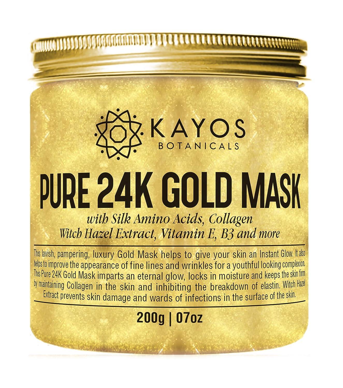 Kayos 24K Gold Mask With Collagen, Silk Amino Acids, Vitamin E, 200 G