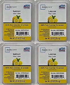 Mainstays Lemon Essential Oil Infused Wax Cubes 1.25oz 4-Pack