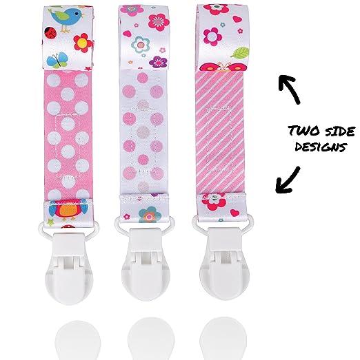 Amazon.com: Clip de chupete para niñas, 3 unidades por ...