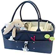 Premium Baby Diaper Caddy Organizer: Large Tote Bag for Diapers, Toys or Books; Practical Boy or Girl Gifts at Baby Shower; Portable Nursery Nappy Organizer for Changing Table