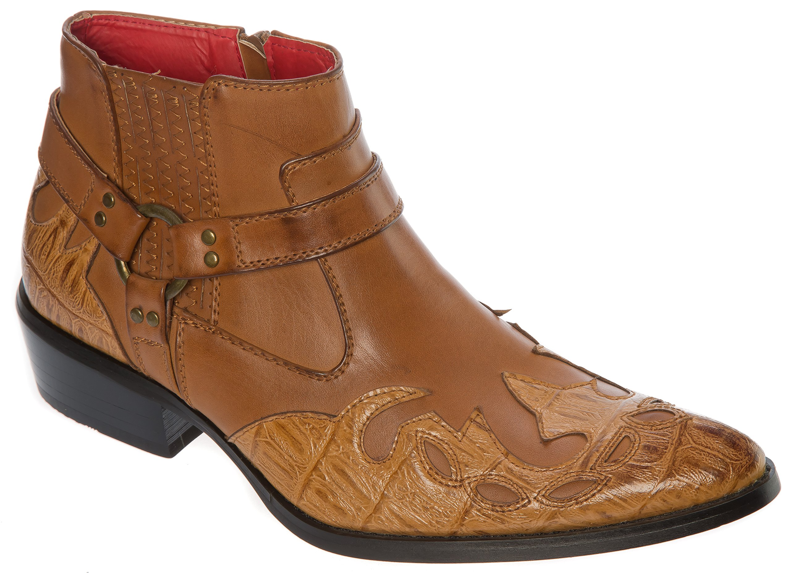 ALFA Size 10.5 Mens Tan Western-Boots Slip On Side Zipper Wing Tip Cowboy Boots