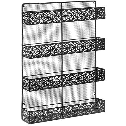 Amazon com: NANI 4 Tier Large Wall Mounted Wire Spice Rack Organizer