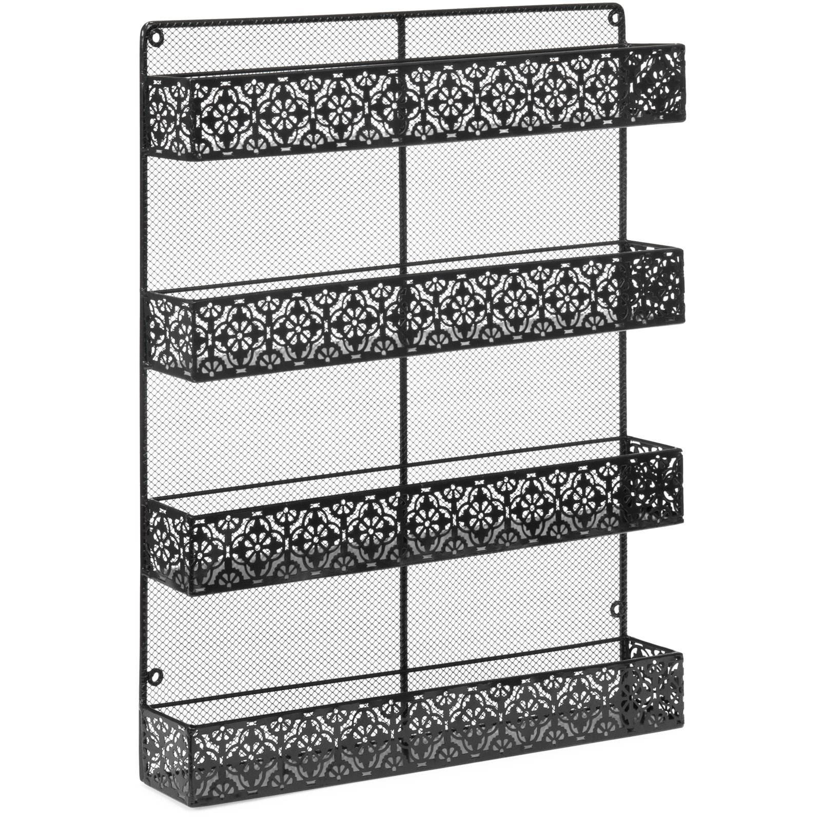 totoshop New Black 4 Tier Large Wall Mounted Wire Spice Rack Organizer by totoshop