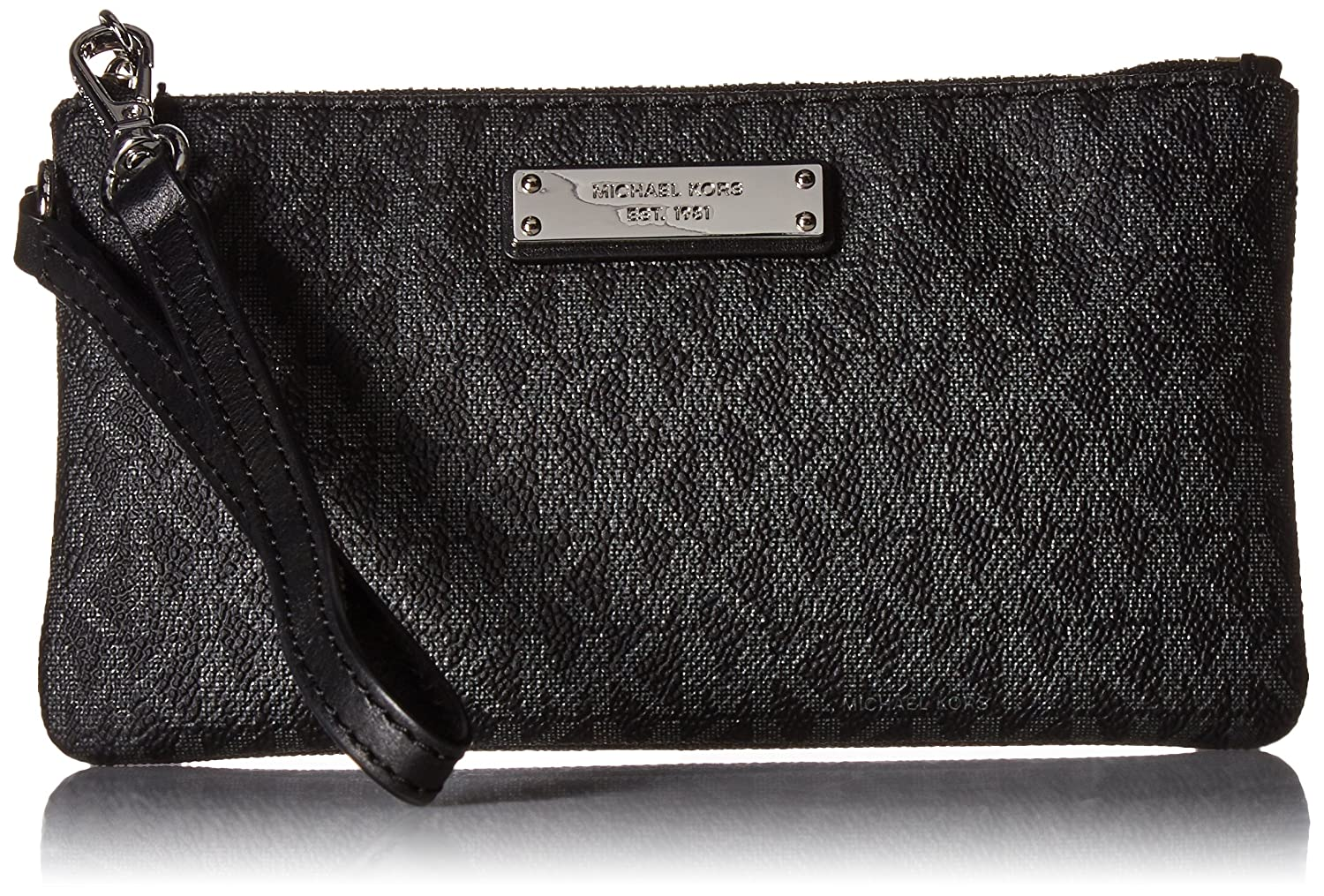 cba8c1ae59937a Michael Kors Jet Set Signature Travel Wristlet, Black: Handbags: Amazon.com