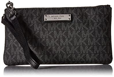 fb06f248b1ccae Michael Kors Jet Set Signature Travel Wristlet, Black: Handbags ...