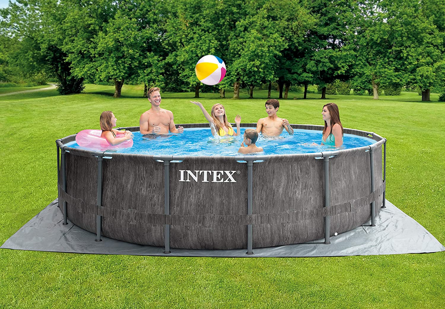 Intex Premium Frame Pool Set Prism Greywood Ø 457 x 122 cm Juego ...