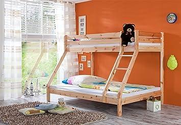 Etagenbett Für 3 : Etagenbett schlafplätze kiefer massiv lackiert amazon küche