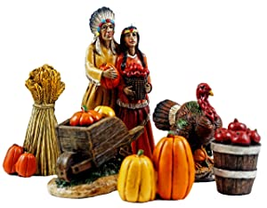 Indian Village Mini Thanksgiving Figurines - Set of 6