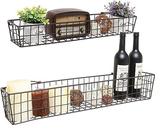 Set of 2 Brown Country Rustic Wall Mounted Openwork Metal Wire Storage Basket Shelves Display Racks