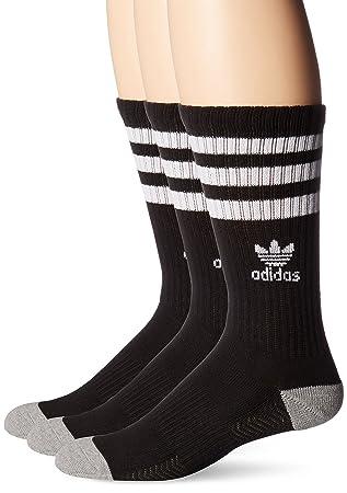 Adidas hombre 's Originals amortiguado Crew Sock (3 Pack), grande, negro