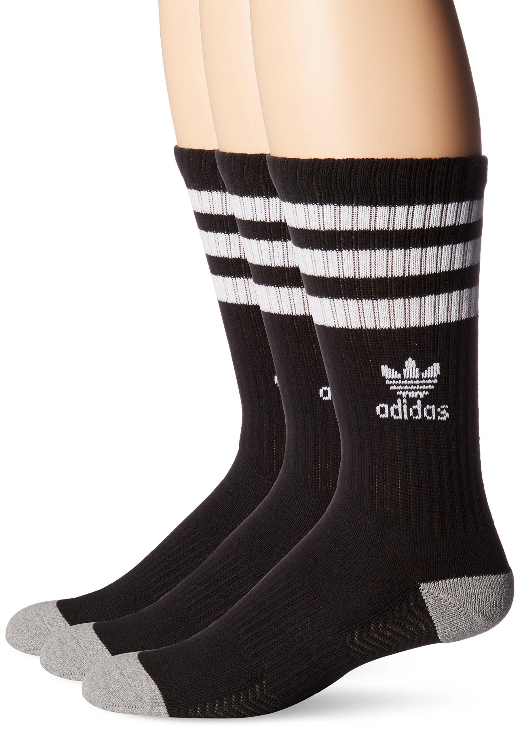 adidas Men's Originals Crew Socks (3-Pack), Black/White/Heather Grey, Large