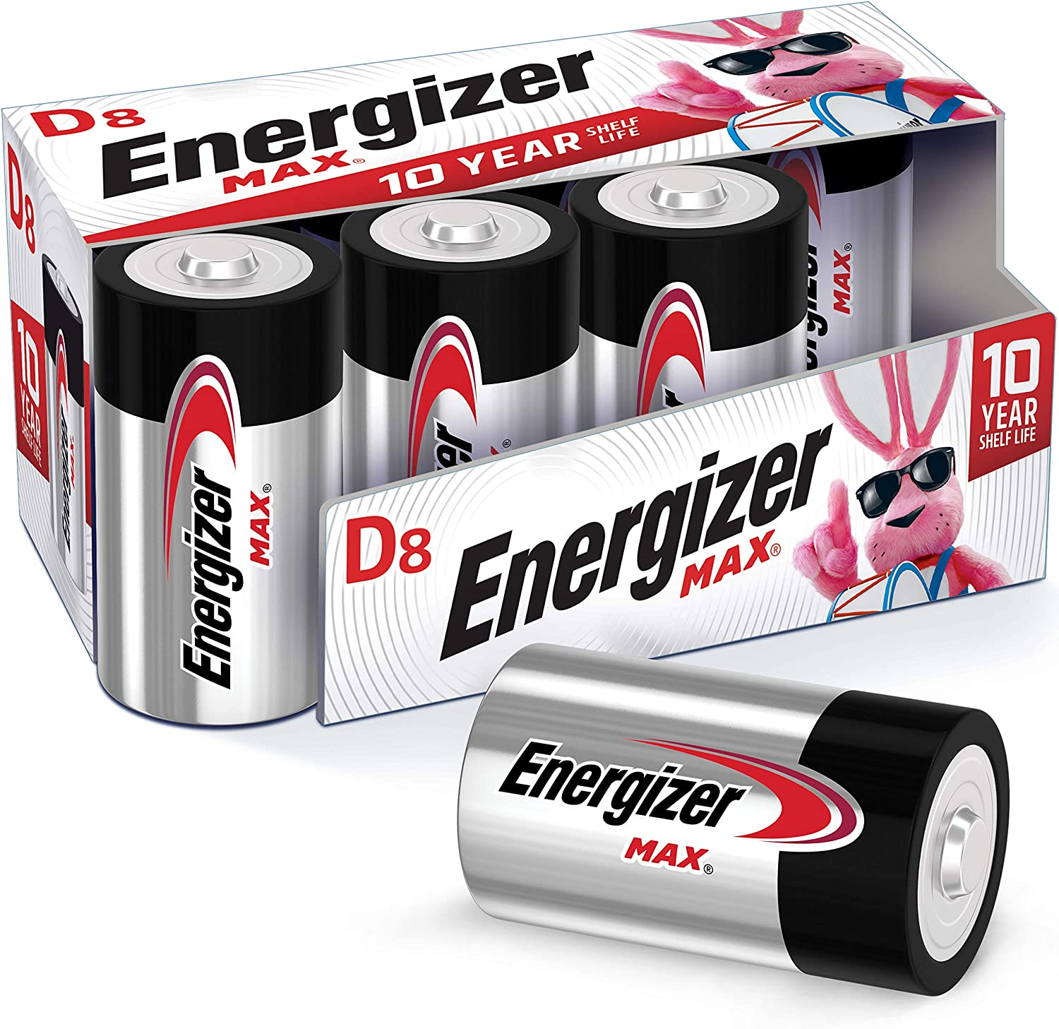 Energizer Max D Batteries, Premium Alkaline D Cell Batteries (8 Battery Count): Health & Personal Care