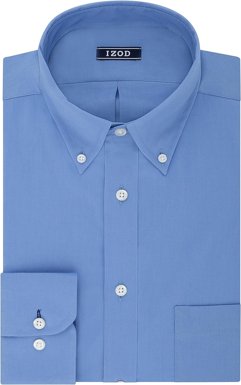 IZOD Mens Dress Shirt Regular Fit Stretch Solid Button Down Collar