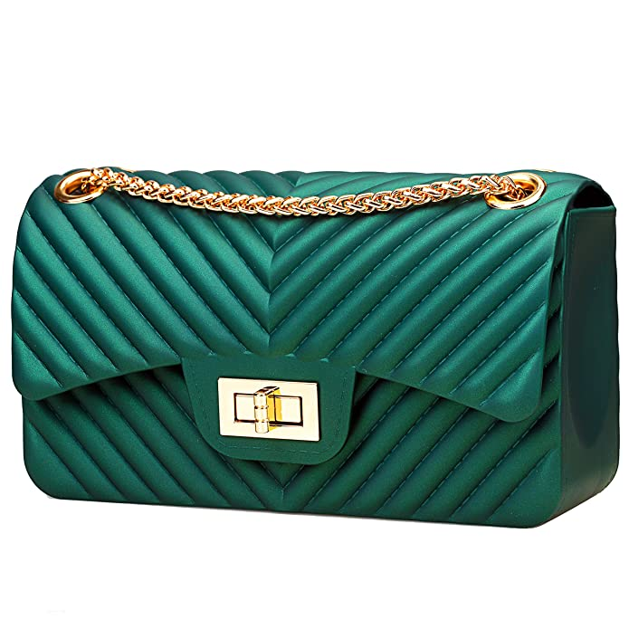 Women Fashion Shoulder Bag Jelly Clutch Handbag Quilted Crossbody Bag with  Chain - Green  Handbags  Amazon.com e5709994ba