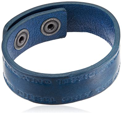 6474c7a03eba3 Amazon.com: Diesel Mens A-CARRYON Leather Bracelet, Navy: Jewelry