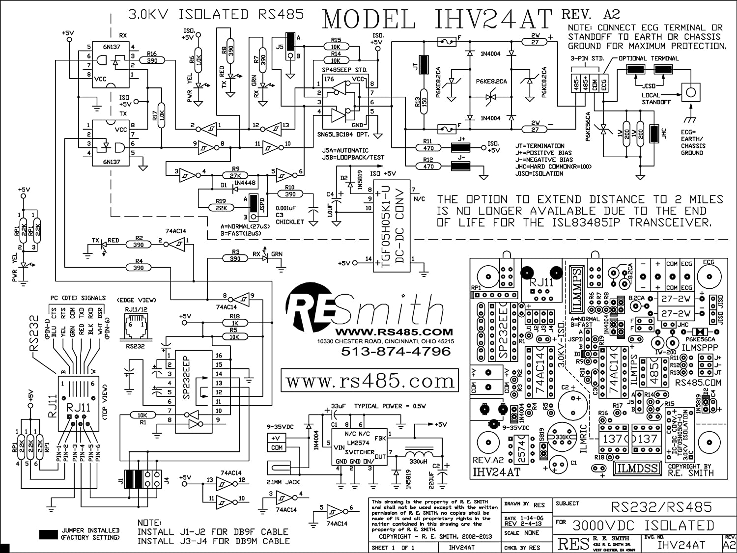 Ihv24at A2 30kv Isolated Rs232ltgtrs485 Rj11 Wiring Diagram Duplex Operation Industrial Strength Converter Assembled Circuit Board Only Electronics