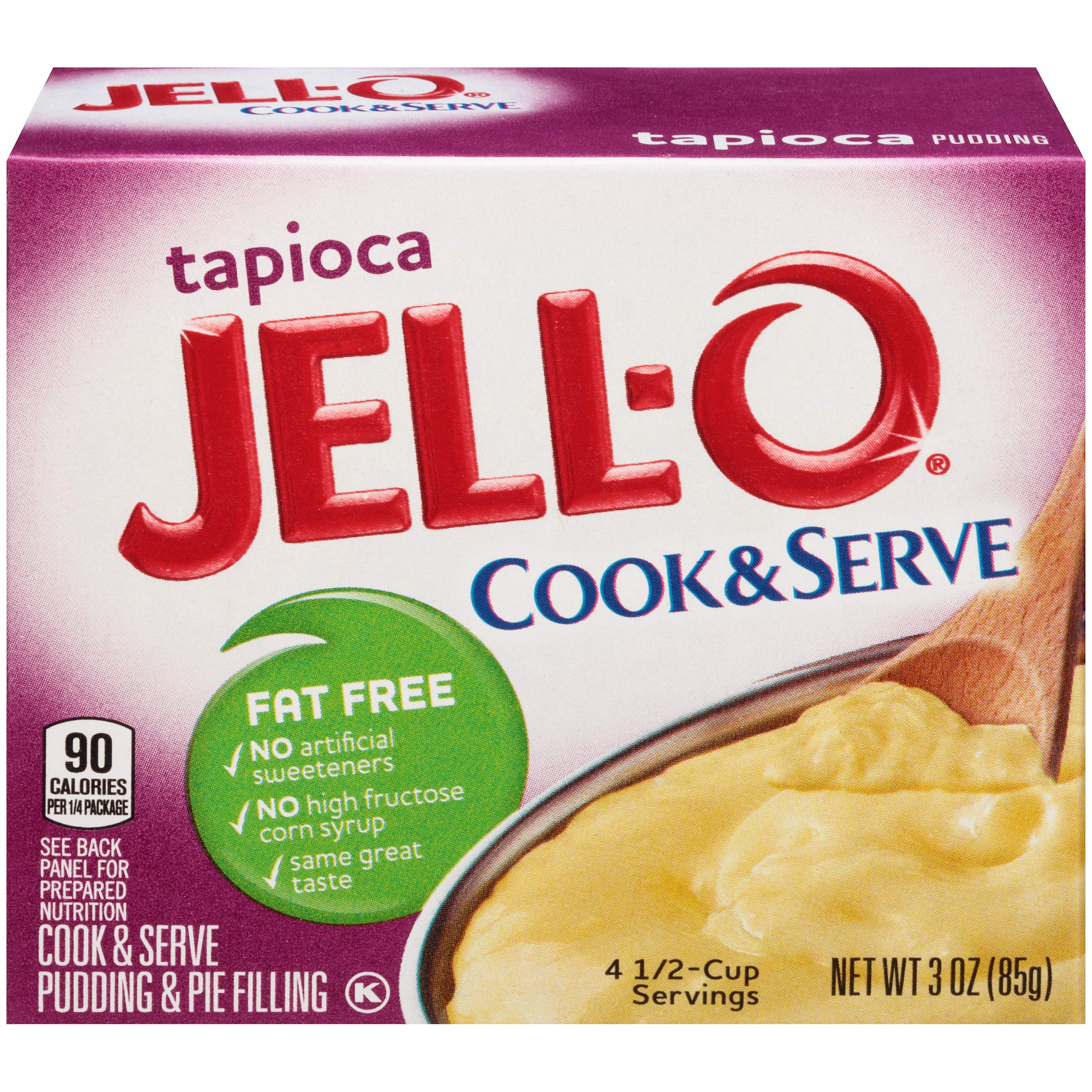 Jell-O Fat Free Cook & Serve Tapioca Pudding, 3 oz Box